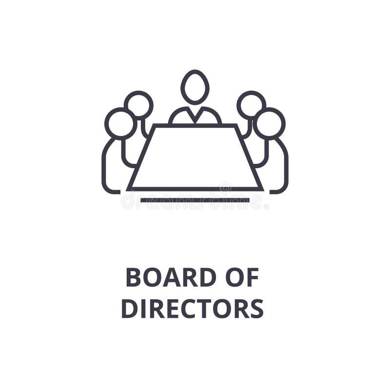 Le conseil d'administration rayent l'icône, signe d'ensemble, symbole linéaire, vecteur, illustration plate illustration libre de droits