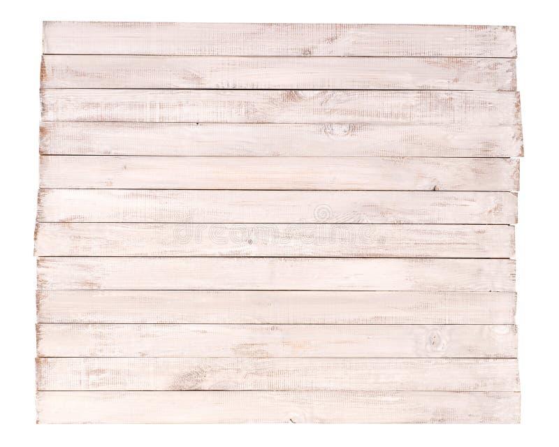 Le conseil en bois a peint blanc d'isolement sur le fond blanc images stock