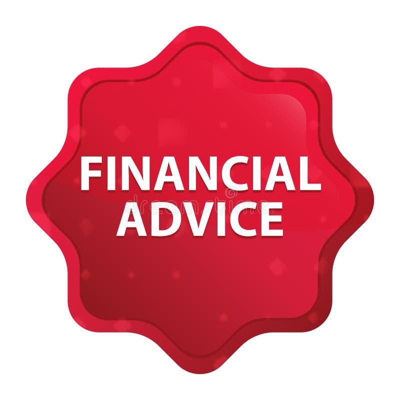 Le conseil financier brumeux a monté bouton rouge d'autocollant de starburst illustration libre de droits