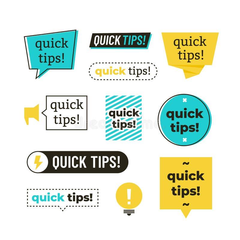 Le conseil, l'astuce, les astuces rapides, les tours utiles et les suggestions dirigent des logos, des emblèmes et l'ensemble de  illustration stock