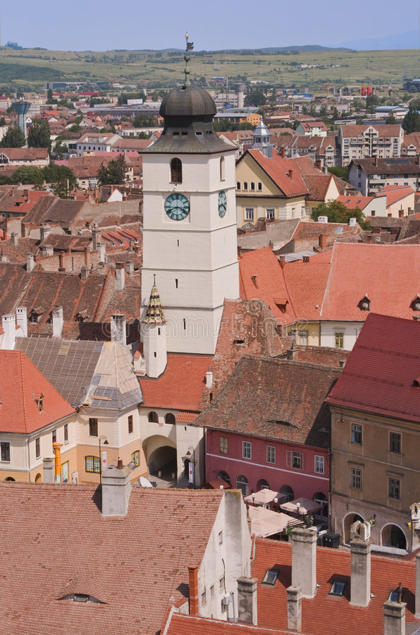 Le Conseil Tour-Sibiu, Roumanie image stock