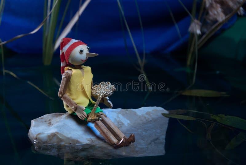 Le conte de Pinocchio Pinocchio a pris la touche fonctions étendues de la tortue photographie stock libre de droits