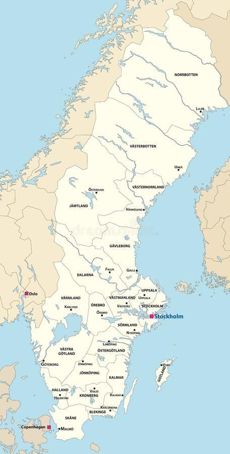 Le contee della Svezia tracciano l'illustrazione di vettore con le capitali su  Tutti gli strati staccabili ed identificati Illus illustrazione di stock