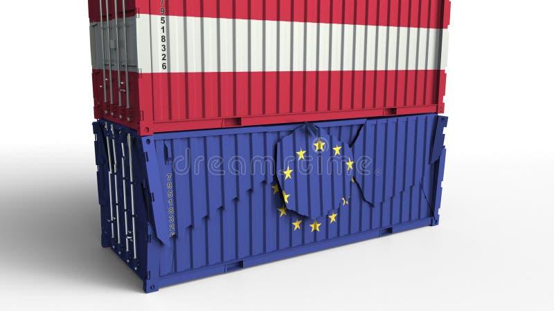 Le conteneur avec le drapeau de l'Autriche casse le conteneur de cargaison avec le drapeau de l'Union européenne Guerre commercia illustration libre de droits