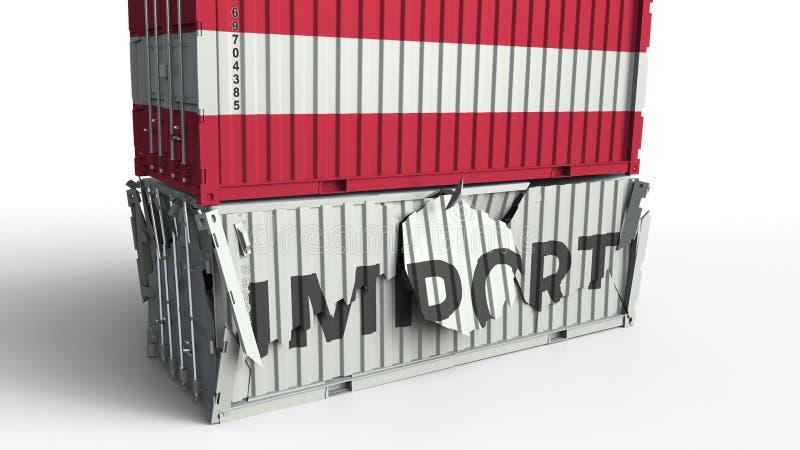 Le conteneur de cargaison avec le drapeau de l'Autriche casse le conteneur avec le texte d'IMPORTATION Rendu 3d conceptuel illustration de vecteur