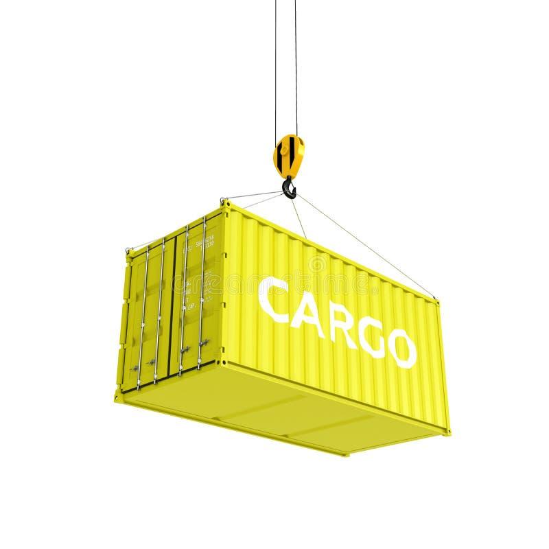 Le conteneur de transports maritimes en jaune avec un concept de chargement de la livraison d'inscription la grue soulève le cont illustration de vecteur