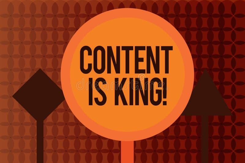 Le contenu d'écriture des textes d'écriture est roi La signification de concept exprime ce qui vend des produits et fournit la bo illustration de vecteur