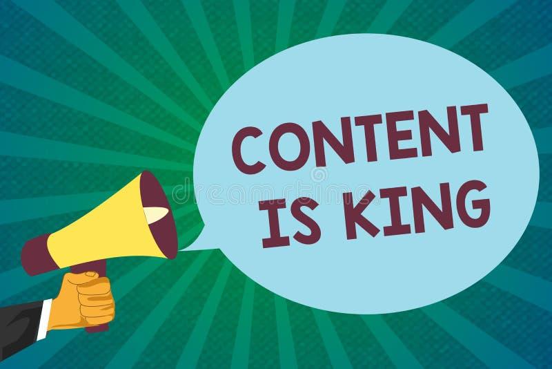 Le contenu des textes d'écriture de Word est roi Le concept d'affaires pour le contenu est le coeur des stratégies marketing d'au illustration stock
