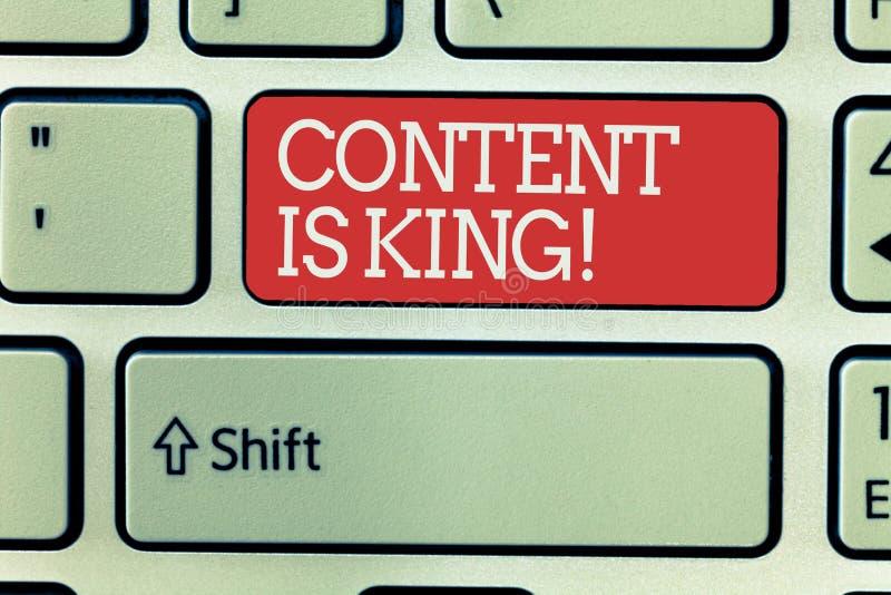 Le contenu des textes d'écriture de Word est roi Le concept d'affaires pour des mots ce qui vend des produits et fournissent la b illustration de vecteur