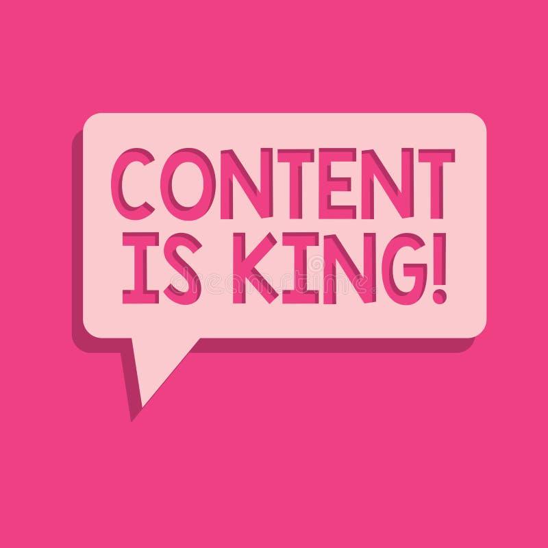 Le contenu des textes d'écriture de Word est roi Le concept d'affaires pour des mots ce qui vend des produits et fournissent la b illustration libre de droits