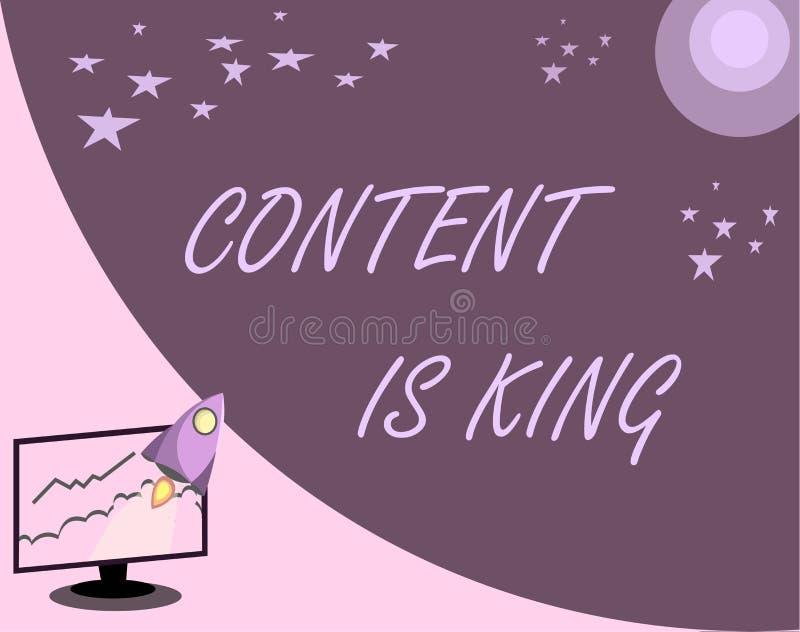 Le contenu des textes d'écriture est roi Le contenu de signification de concept est le coeur des stratégies marketing d'aujourd'h illustration stock