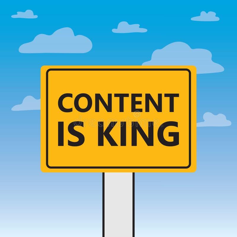 Le contenu est roi écrit sur un panneau d'affichage illustration stock