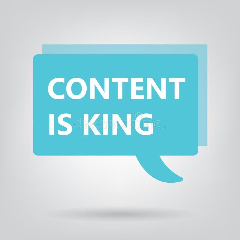 Le contenu est roi écrit sur une bulle de la parole illustration de vecteur