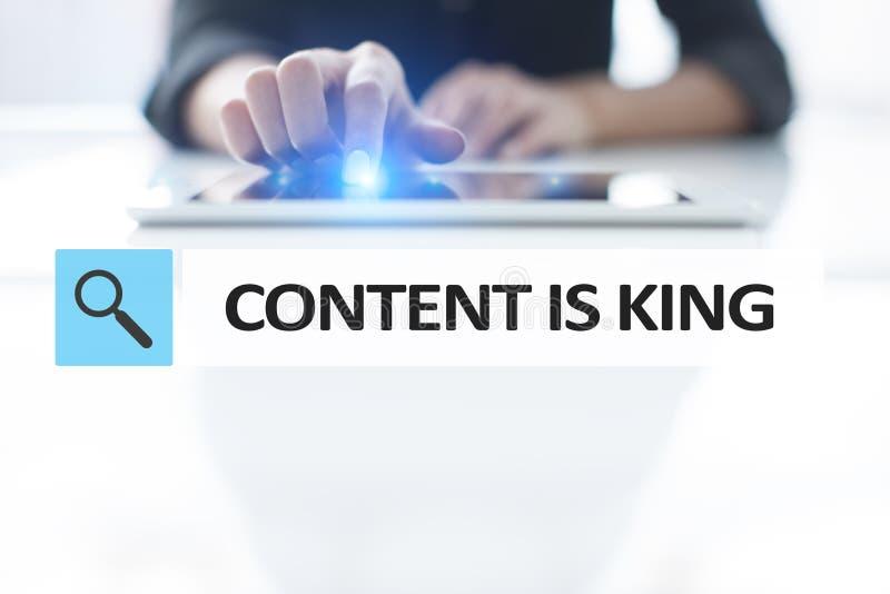 Le contenu est texte de roi dans la barre de recherche Affaires, technologie et concept d'Internet Vente de Digital photos stock