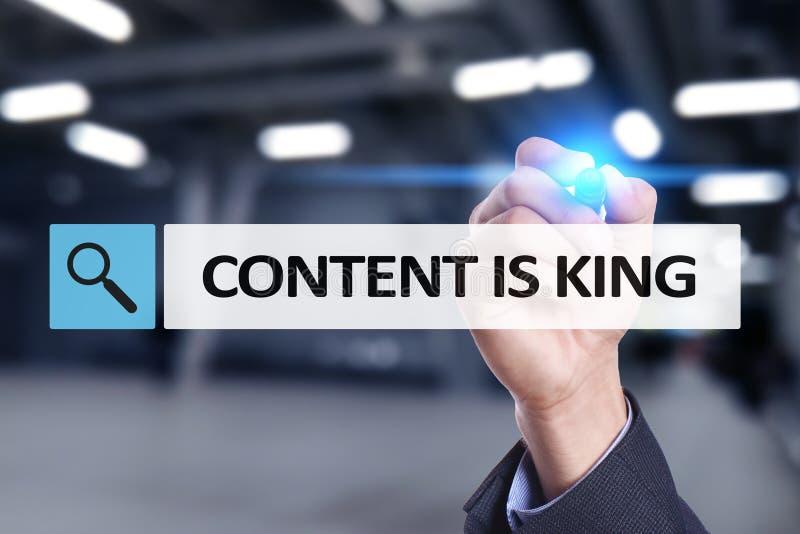 Le contenu est texte de roi dans la barre de recherche Affaires, technologie et concept d'Internet Vente de Digital photographie stock libre de droits