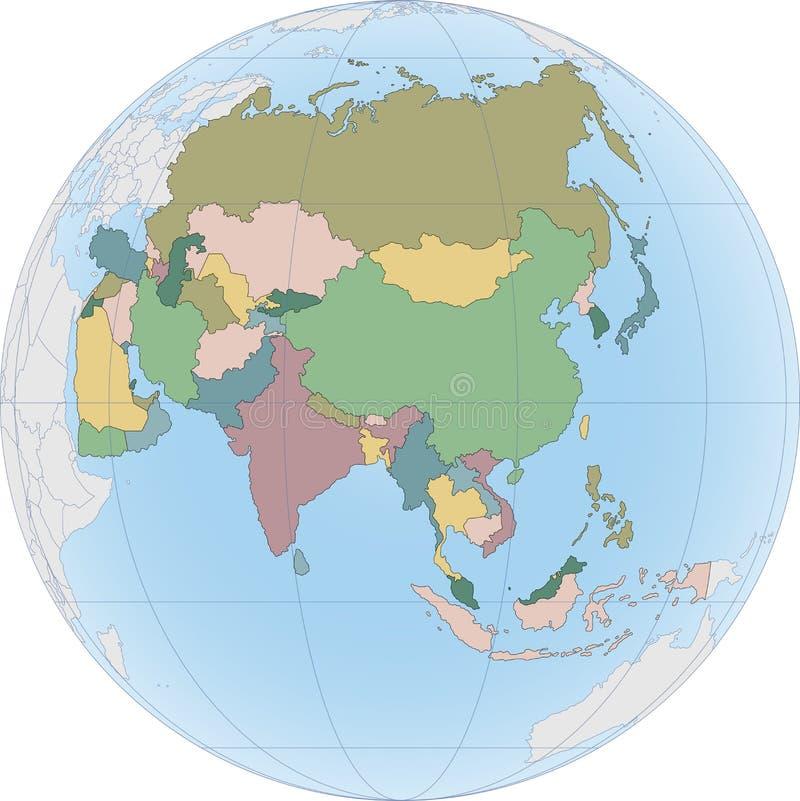 Le continent de l'Asie est divisé par pays sur le globe illustration stock
