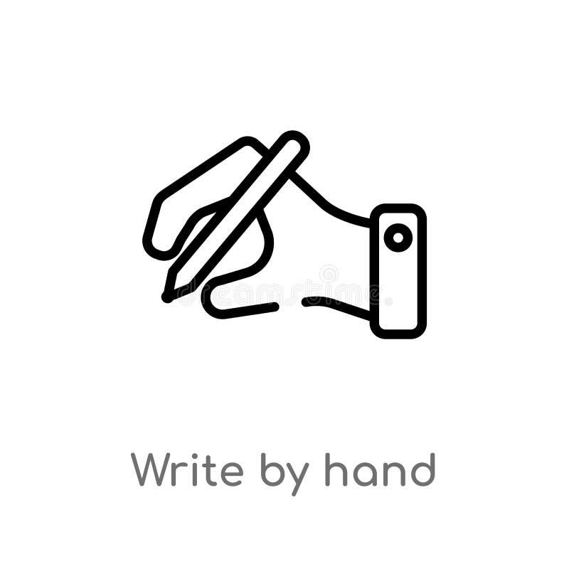 le contour écrivent à la main l'icône de vecteur ligne simple noire d'isolement illustration d'élément de concept d'éducation Cou illustration libre de droits
