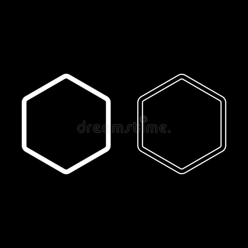 Le contour d'icône d'élément de forme d'hexagone a placé l'image plate de style de couleur d'illustration blanche de vecteur illustration libre de droits