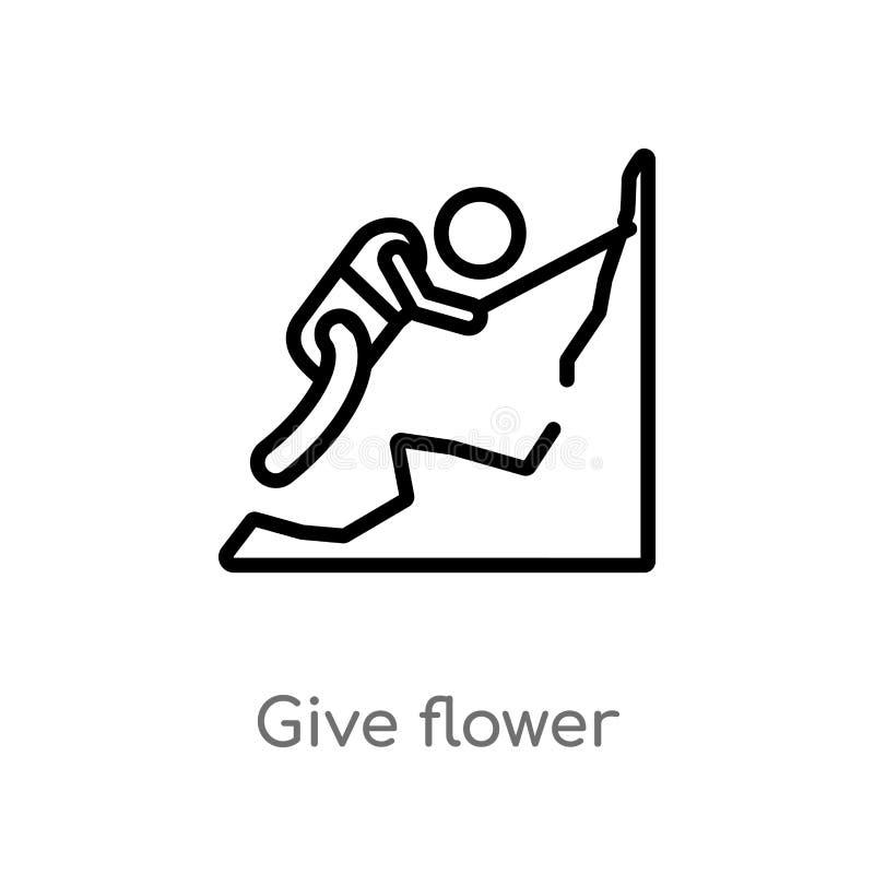 le contour donnent l'icône de vecteur de fleur ligne simple noire d'isolement illustration d'?l?ment de concept de personnes la c illustration libre de droits