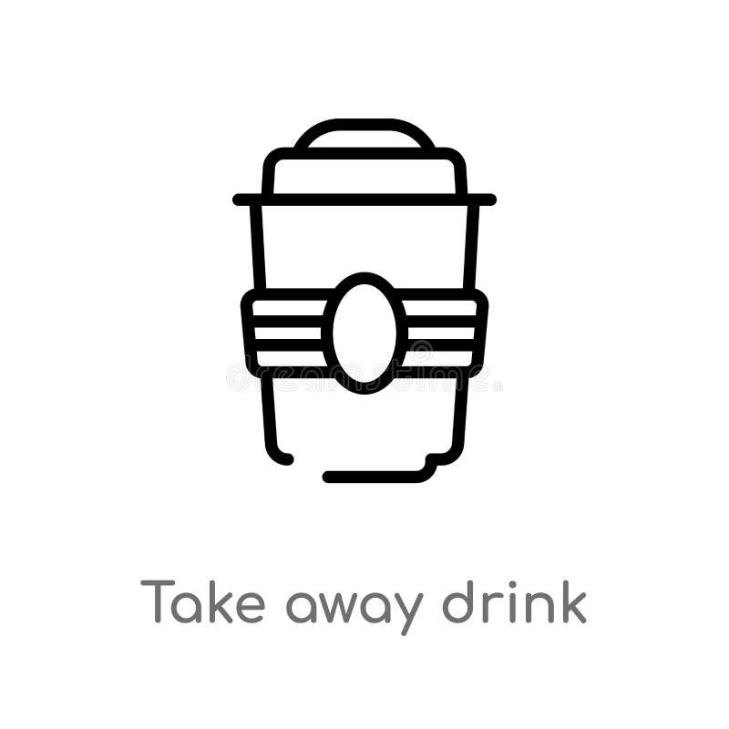 le contour emportent l'icône de vecteur de boissons ligne simple noire d'isolement illustration d'élément de concept de cinéma Co illustration libre de droits
