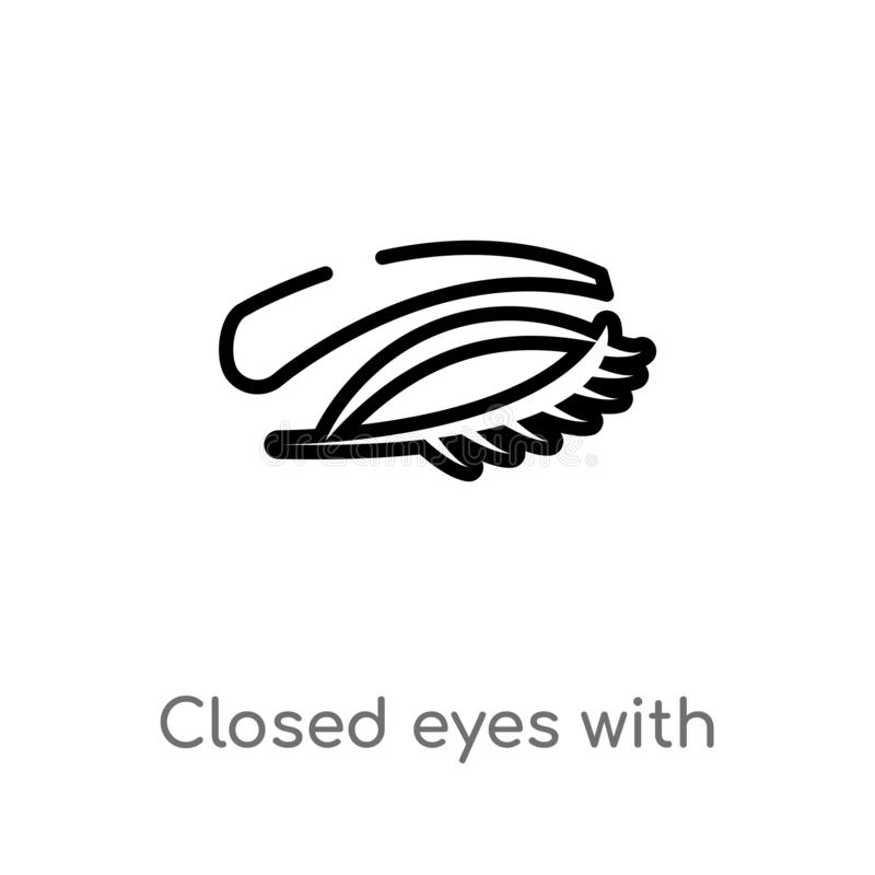le contour a fermé des yeux avec des mèches et les fronts dirigent l'icône ligne simple noire d'isolement illustration d'?l?ment  illustration libre de droits