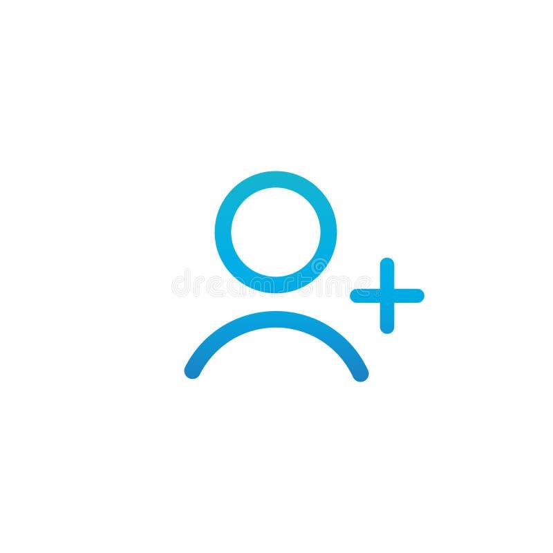 Le contour linéaire bleu AJOUTENT l'icône de personne, AJOUTENT l'icône d'utilisateur avec l'illustration plus de vecteur d'isole illustration de vecteur