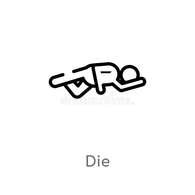 le contour meurent icône de vecteur ligne simple noire d'isolement illustration d'élément de concept de divertissement la course  illustration libre de droits