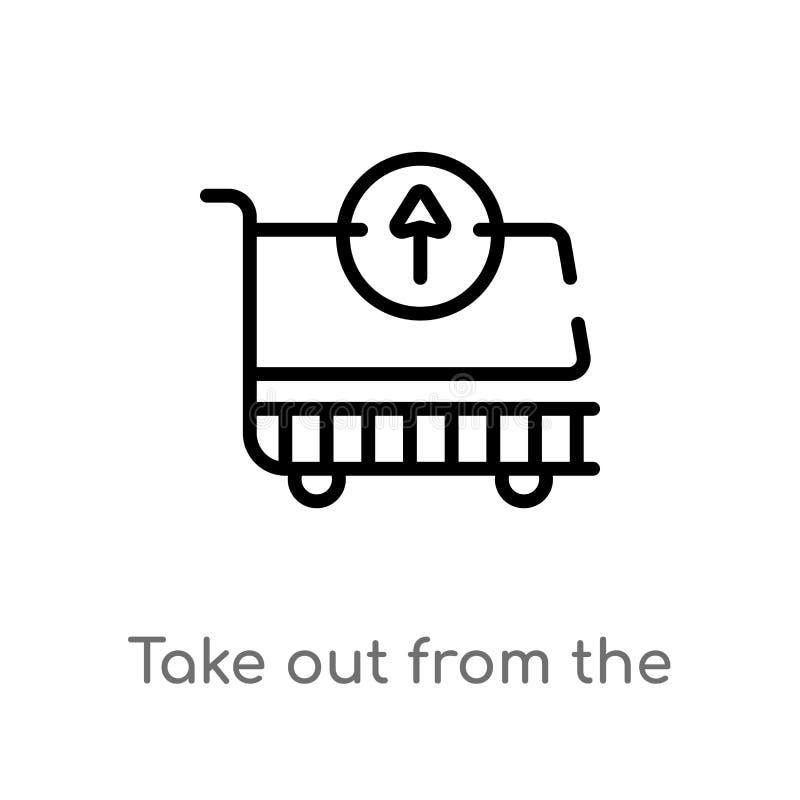 le contour sortent de l'icône de vecteur de chariot ligne simple noire d'isolement illustration d'élément de concept de commerce  illustration stock