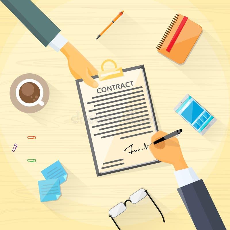 Le contrat s'enregistrent des gens d'affaires de document sur papier illustration stock