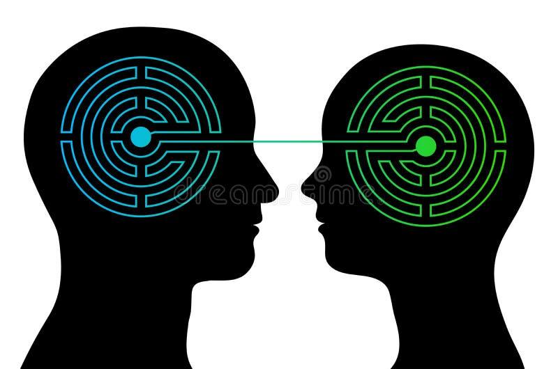 Le coppie con i cervelli del labirinto comunicano illustrazione vettoriale