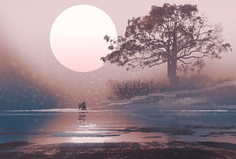 Le coppie di amore nell'inverno abbelliscono con la luna enorme qui sopra illustrazione di stock
