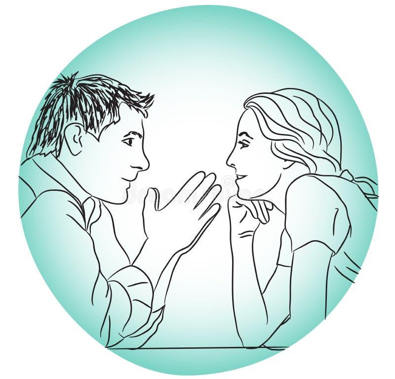 Le coppie di conversazione amano datare la sera senza concetto delle regole royalty illustrazione gratis