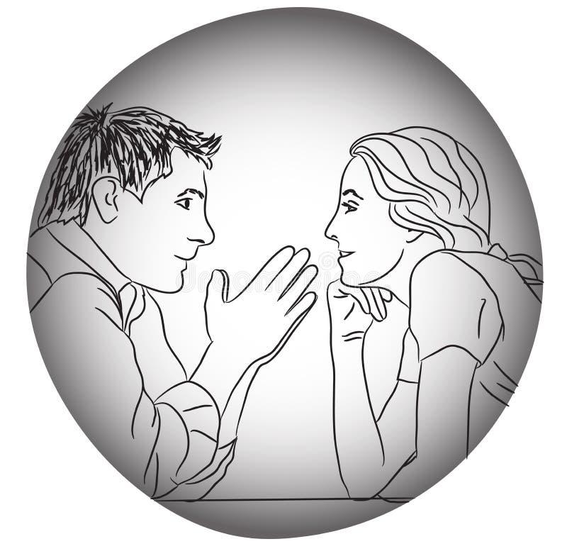 Le coppie di conversazione amano datare la sera senza concetto delle regole illustrazione vettoriale