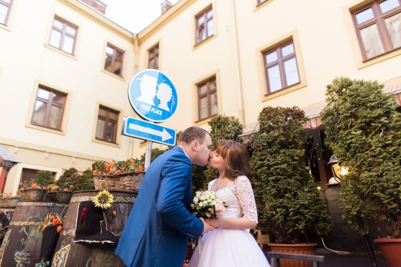 Le coppie eleganti di nozze che baciano nell'ambito del segno baciano il posto fotografia stock libera da diritti