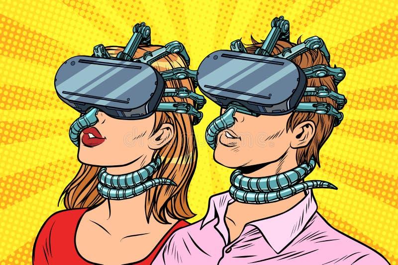 Le coppie equipaggiano e donna nella realtà virtuale royalty illustrazione gratis