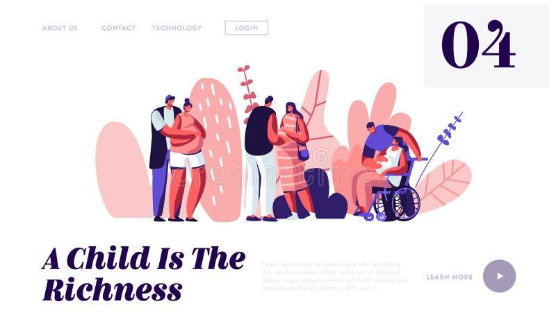 Le coppie felici aspettano il bambino Caratteri femminili incinti sani e disabili con i mariti Ragazza sulla sedia a rotelle Di m illustrazione di stock