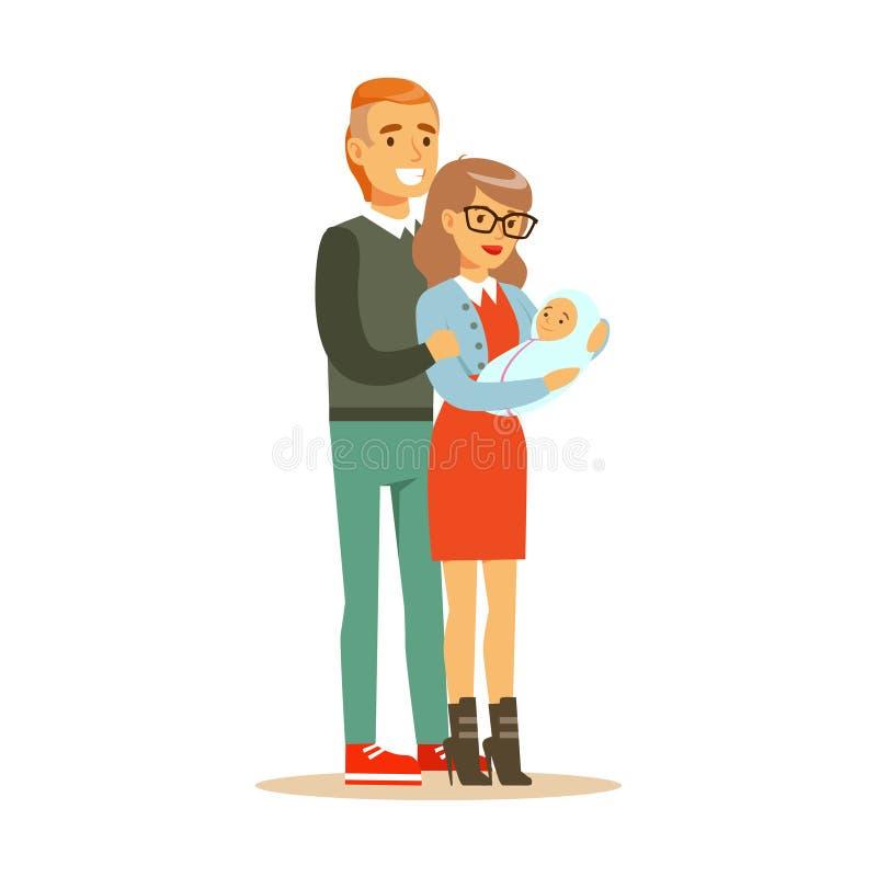 Le coppie felici della famiglia con i caratteri variopinti del neonato vector l'illustrazione illustrazione vettoriale