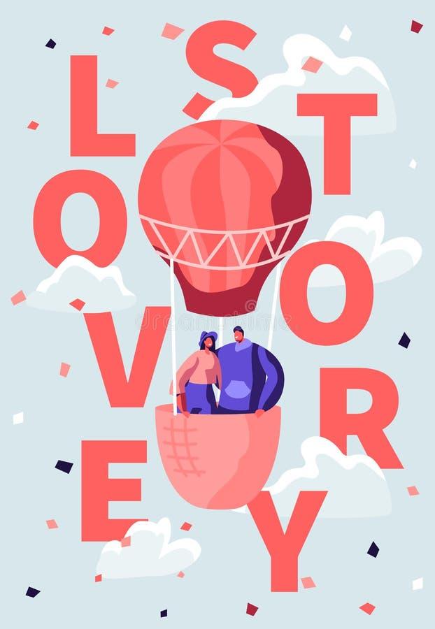 Le coppie felici di amore volano in aerostato in cielo nuvoloso Viaggio romantico di luna di miele, Valentine Day Manifesto di Lo illustrazione vettoriale