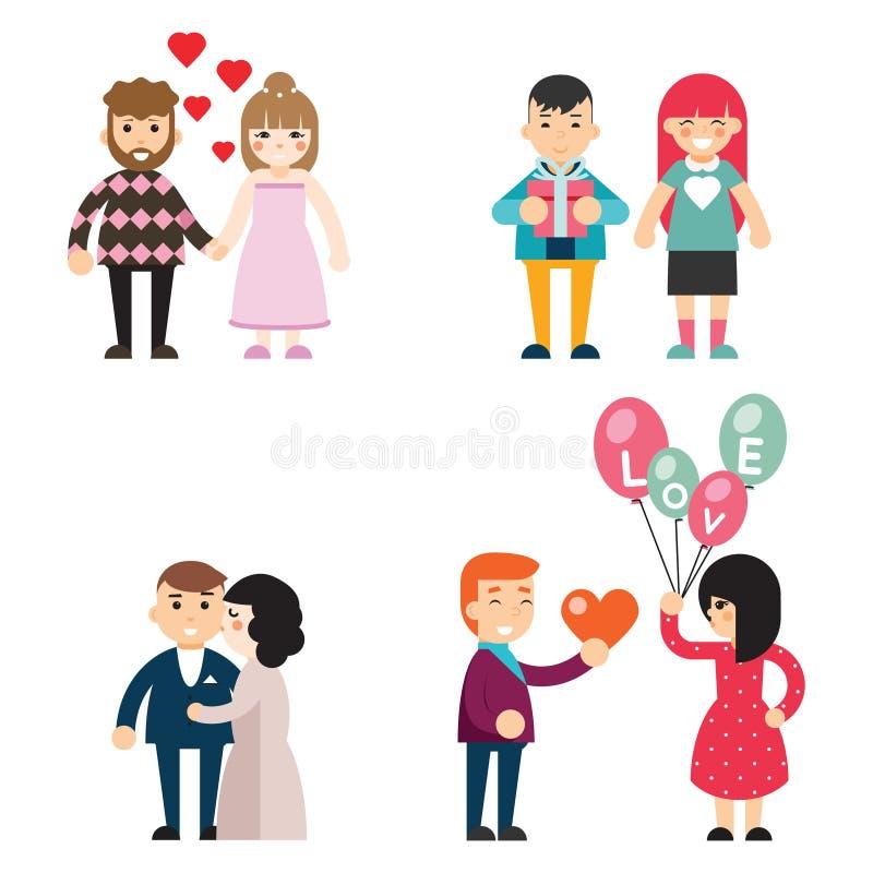 Le coppie felici nella progettazione piana di concetto dei caratteri degli uomini e delle donne di Valentine Day di amore Vector  illustrazione di stock