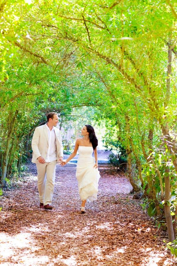 Le coppie hanno sposato appena il funzionamento felice nella sosta verde immagini stock libere da diritti