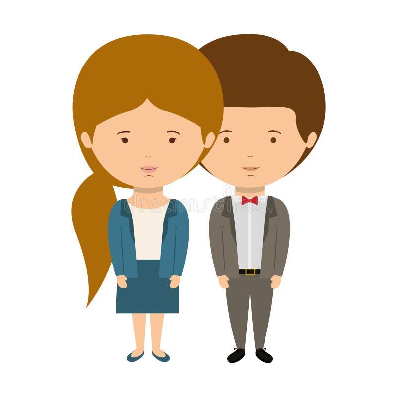 Le coppie hanno vestito lo stile convenzionale nell'amore con i capelli della coda di cavallo della ragazza illustrazione di stock