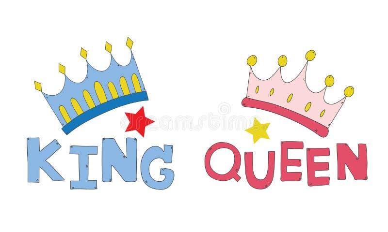 Le coppie incoronano re e la regina disegnati a mano per le coppie della maglietta o decorano il vettore illustrazione di stock