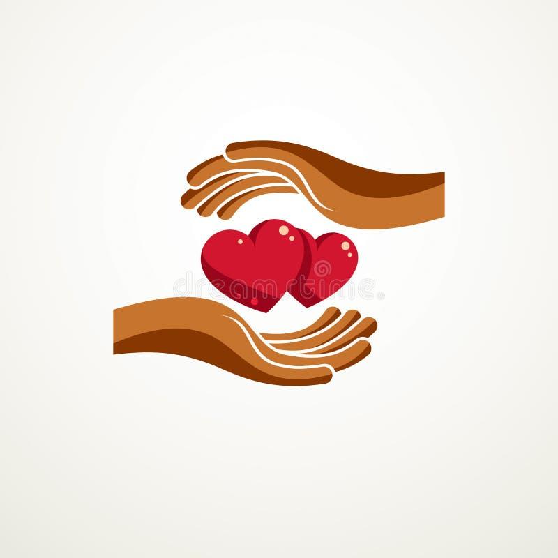 Le coppie nel logo o nell'icona semplice di vettore di amore hanno creato con i cuori lucidi rossi e le mani proteggenti di cura  royalty illustrazione gratis
