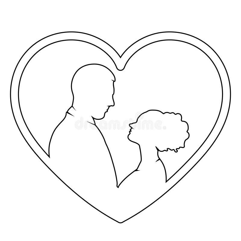 Le coppie nel profilo di amore, vector il disegno piano della siluetta dell'icona, di logo, della sposa e dello sposo illustrazione di stock