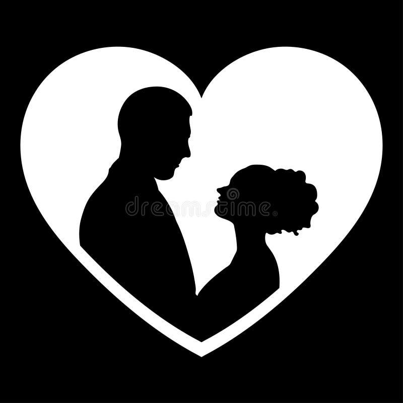 Le coppie nella siluetta di amore, vector il disegno di profilo piano dell'icona, di logo, della sposa e dello sposo royalty illustrazione gratis