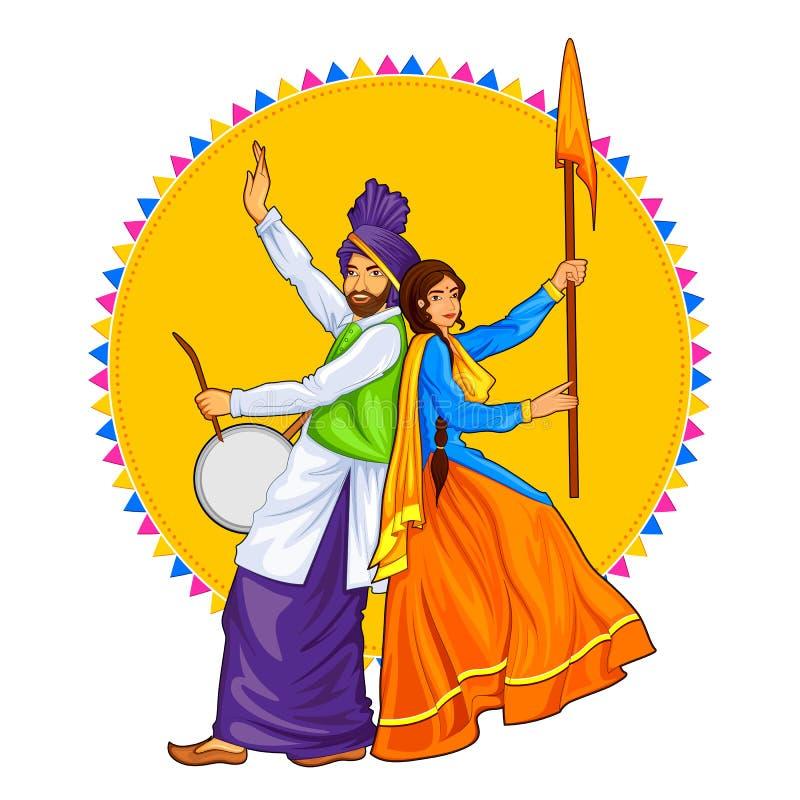 Le coppie punjabe sikh di Sardar che giocano il dhol e che ballano il bhangra in vacanza gradiscono Lohri o Vaisakhi illustrazione vettoriale