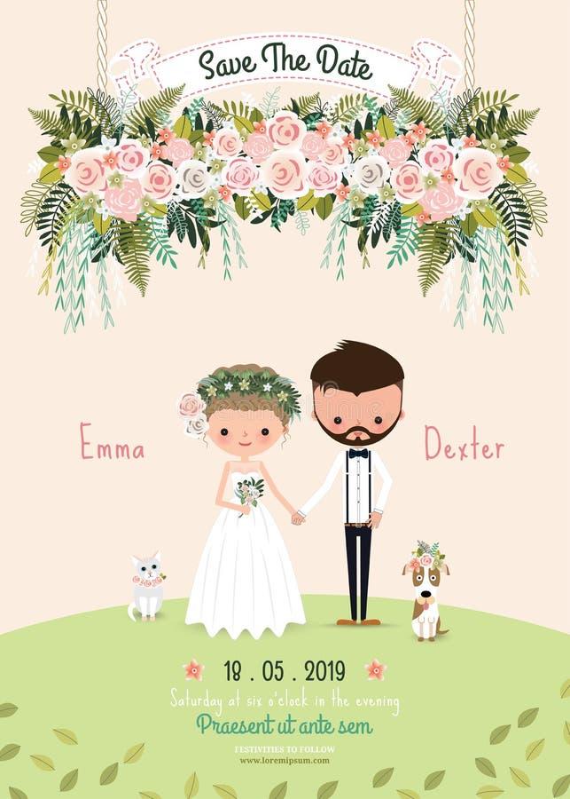 Le coppie rustiche di nozze conservano il fiore floreale della carta dell'invito della data illustrazione vettoriale