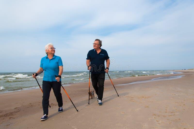 Le coppie senior di camminata nordiche sul vedono fotografia stock libera da diritti
