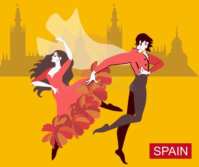 Le coppie spagnole - ragazza vestita in vestito rosso ed in uomo che indossa i vestiti nazionali con il mantello di volo - stanno royalty illustrazione gratis