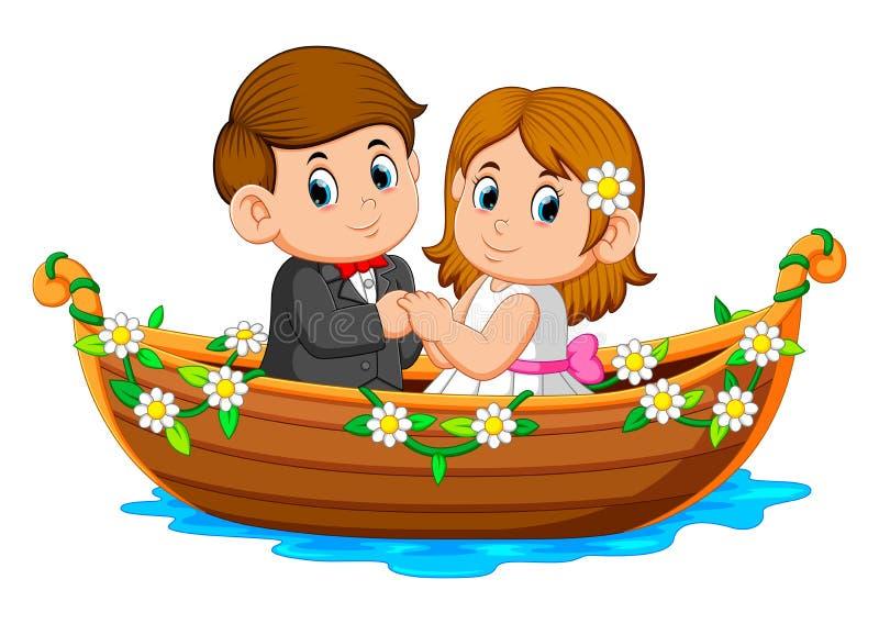 Le coppie stanno posando sulla bella barca con i fiori intorno  illustrazione di stock